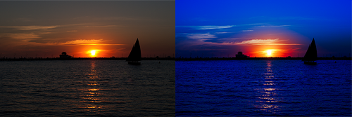 Two identical images of a sunset, but with different post-processing effects applied.