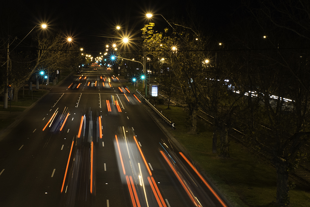 Lights streams from cars at night