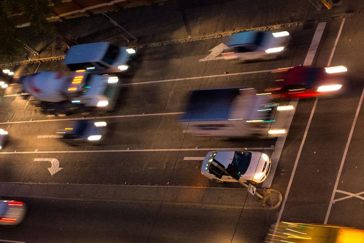 Overhead view of speeding cars