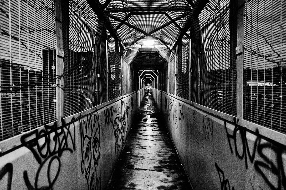 walkway at night