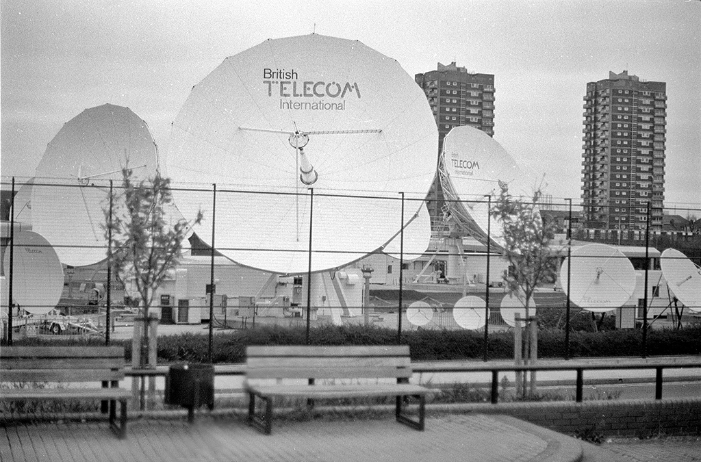 Telecom satellite disks, Silvertown, London, 1990s