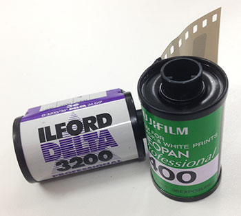 Two rolls of 35mm film – Ilford delta 3200 & Fujifilm Neopan