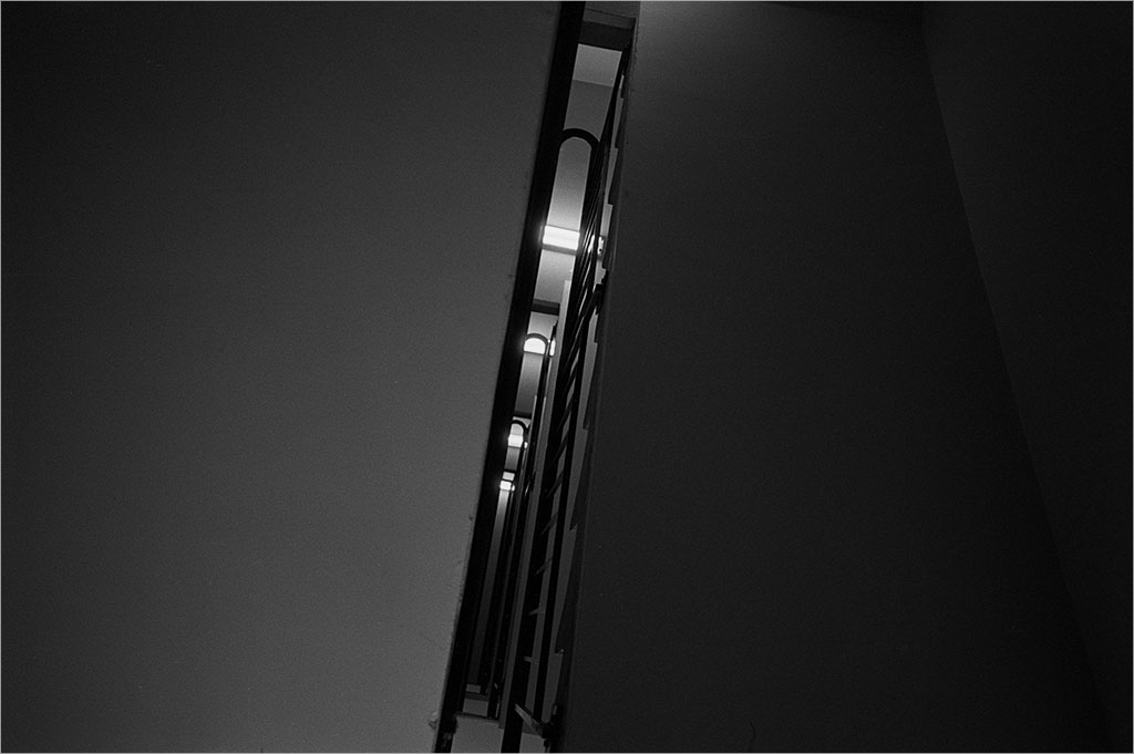 Stairwell. Looking up. Black and white