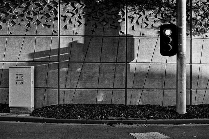 Shadow of traffic lights on wall