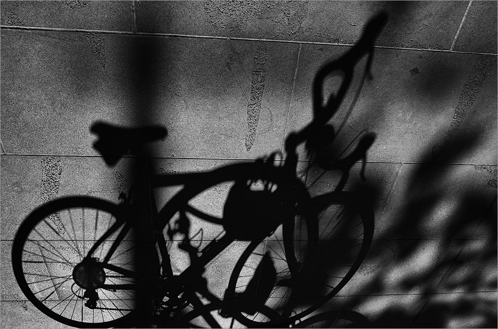 Abstract shadow of bicycle