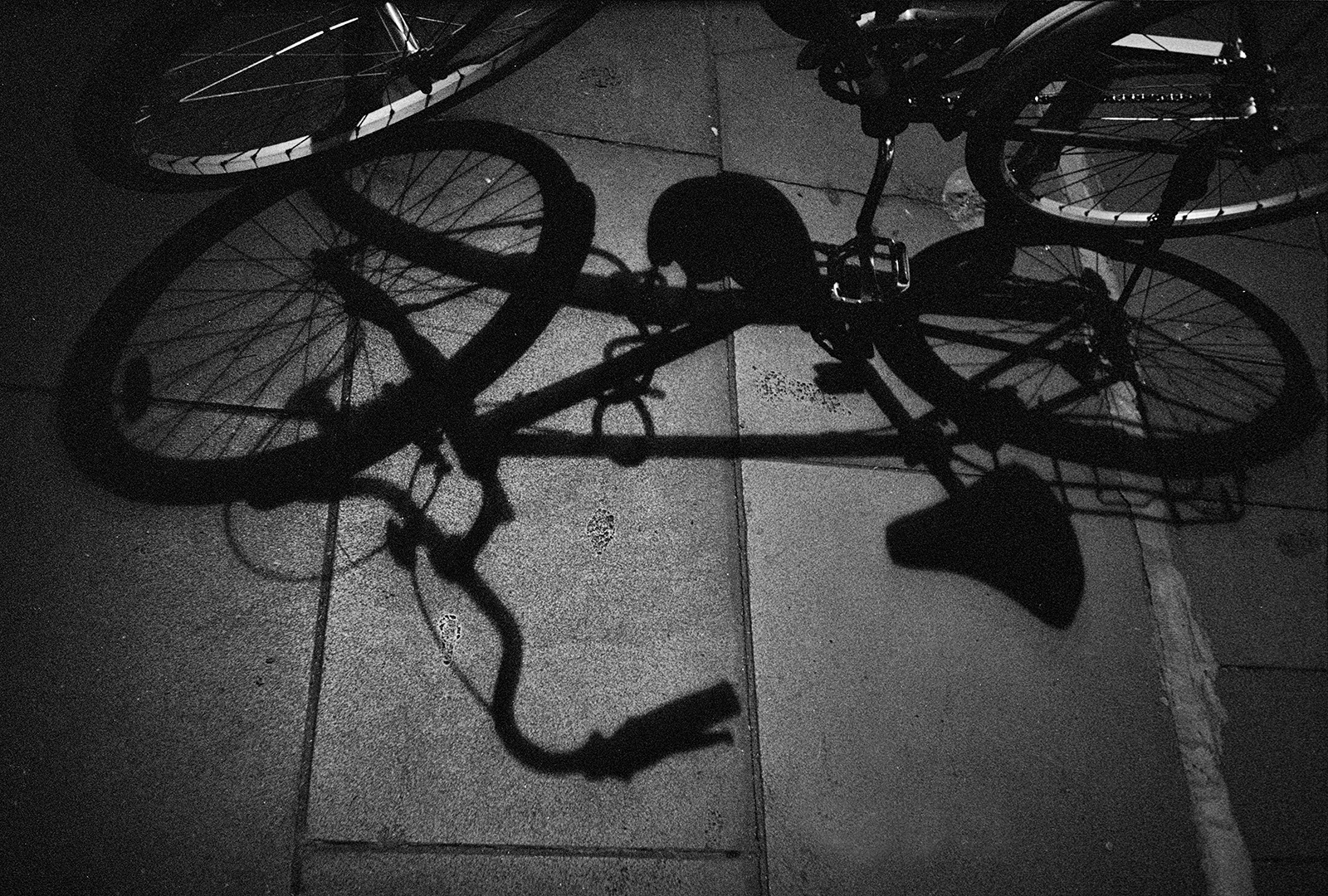 Black and white photo of bicycle and shadow.